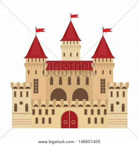 Vector illustration of a castle in flat style. Medieval stone fortress. Abstract fantasy castle can be used in books, game background, web design, banner, etc.