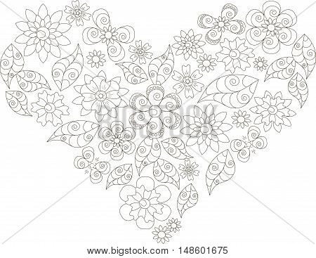 Shape of heart, thin black line flower and leafs doodle, vector illustration