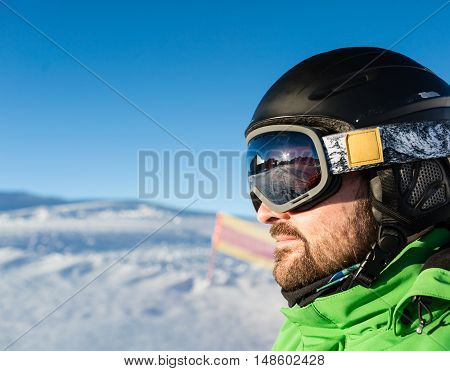Skier With Large Modern Ski Goggles