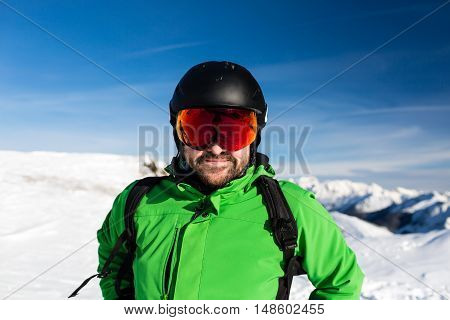 Happy Skier With Large Oversized Ski Goggles
