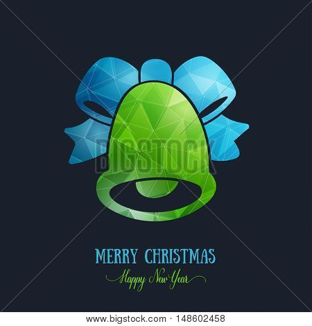 Merry Christmas card creative decoration. Happy New Year element design. Modern polygonal green bell with blue bow, ribbon. Handbell hand drawn template for winter holiday sale and shopping.