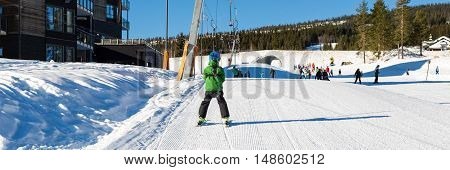 Child On Drag Lift In Trysil