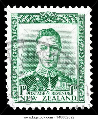 NEW ZEALAND - CIRCA 1941 : Cancelled postage stamp printed by New Zealand, that shows King George.