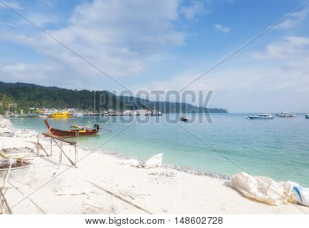 A white sand beach being repaired on PhiPhi Don Island in the Andaman Sea in Thailand.