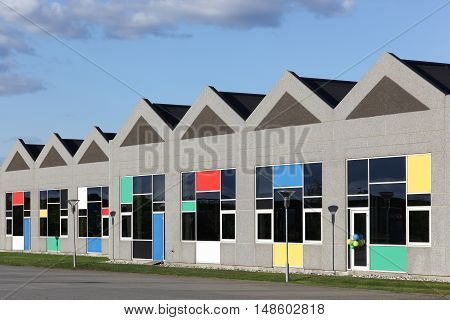 Billund, Denmark - May14, 2016: Lego office building in Billund, Denmark. Lego is a line of plastic construction toys that are manufactured by the Lego Group.