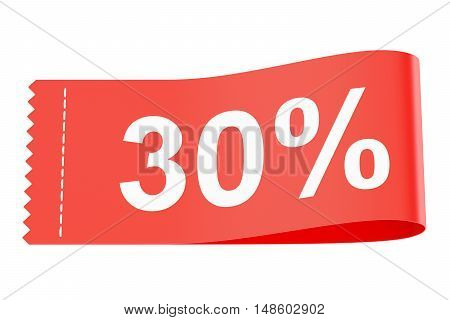 30% discount clothing tag 3D rendering on white background