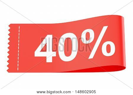 40% discount clothing tag 3D rendering on white background
