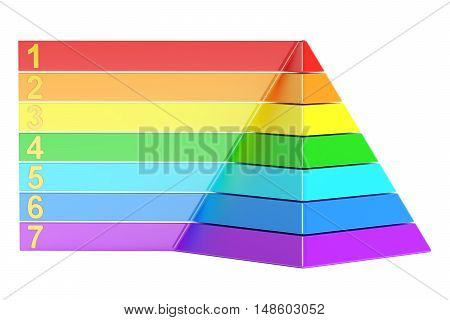 pyramid with color levels pyramid chart. 3d rendering isolated on white background