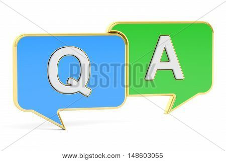 Q&A concept 3D rendering isolated on white background