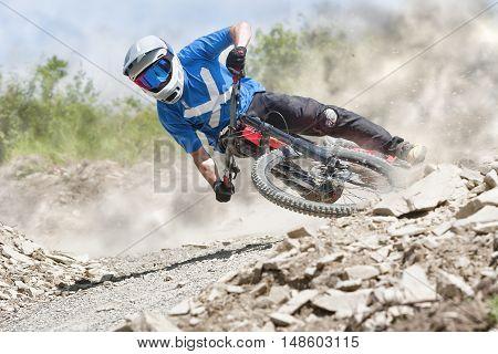 Professional athlete ride on a mountain bike.