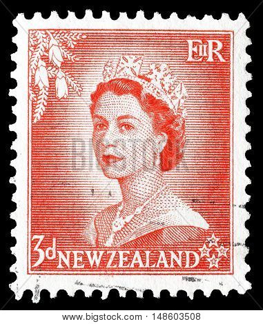 NEW ZEALAND - CIRCA 1953 : Cancelled postage stamp printed by New Zealand, that shows Queen Elizabeth.