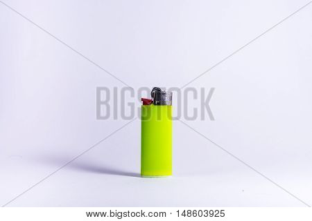 Bright Lime Green Plastic Lighter Fire Isolated White Background Object