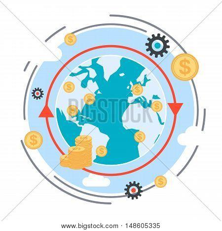 Money transfer, financial transaction, global finance flat design style vector concept illustration