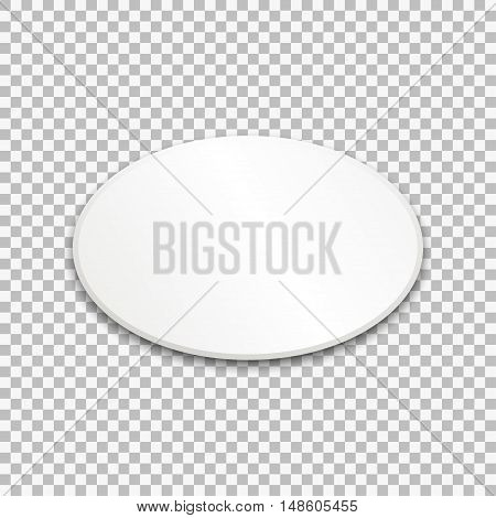 Empty white oval paper plate. Vector Illustration on transparent background