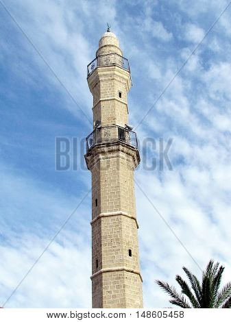 Jaffa Israel - December 6 2012: The Ancient minaret of Great Mosque Muhamidiya Mosque in old city.