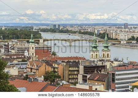 City of Budapest and the Danube River view from above.