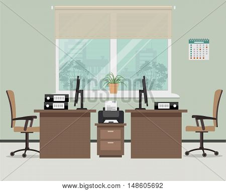 Workplace for office workers. Vector flat illustration. There is a tables, chairs, the computers, printer and other objects in the picture. Office objects are situated on a window background