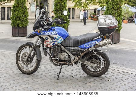 BUDAPEST, SEPTEMBER 18: Motobike BMW F 650 GS in the street on September 18, 2016 in Budapest, Hungary.