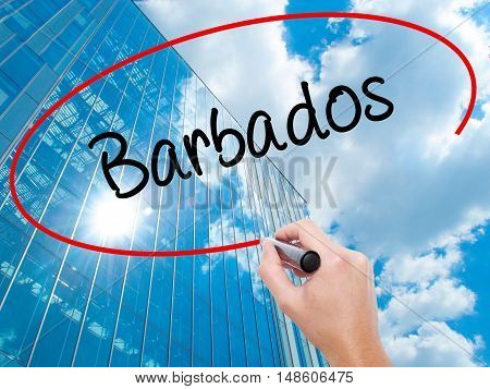 Man Hand Writing Barbados  With Black Marker On Visual Screen