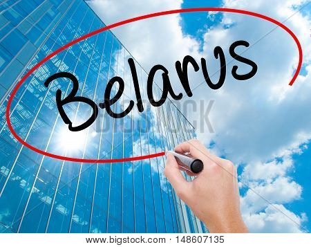 Man Hand Writing Belarus  With Black Marker On Visual Screen.