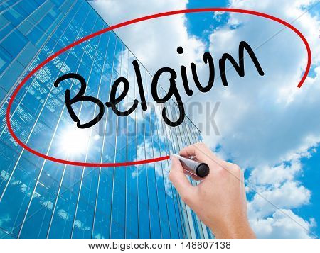Man Hand Writing Belgium  With Black Marker On Visual Screen