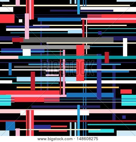 Seamless bright pattern of different colored geometric stripes
