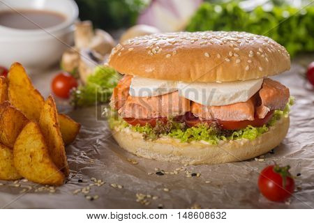 Fish Sandwich with home cheese Tartar Sauce and Fries