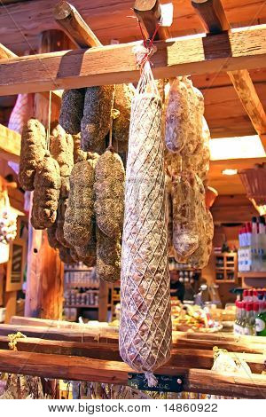 Traditional preserved dried sausages french handmade cuisine