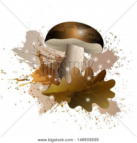Autumn story with mushroom and oak leaf with watercolor effect. Vector illustration.