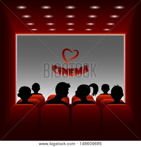 Cartoon vector cinema hall. Illustration of a boy and girl watching a movie about love.