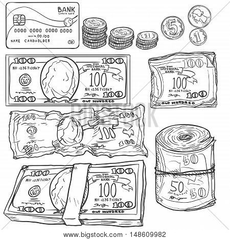 Vector Set Of Sketch Money: Banknotes, Coins, Card.
