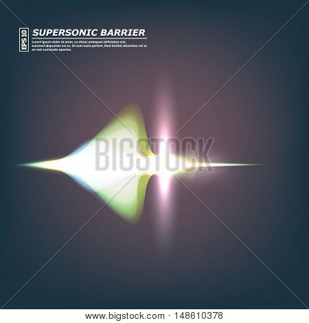 Abstract Composition, Supersonic Barrier Icon, Shiny Comet Flare, Visual Light Flash, Golden Ray Rad