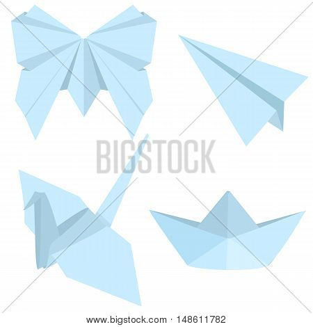 Vector Set Of Blue Origami Objects: Plane, Boat, Butterfly, Crane.