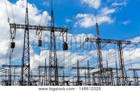 Silhouette of power plant and transformer substation batteries