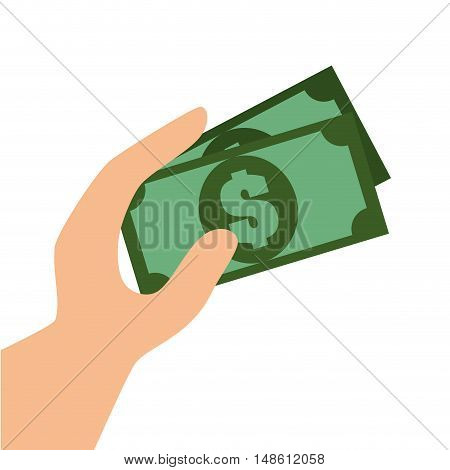 hand with bill money graphic vector illustration eps 10