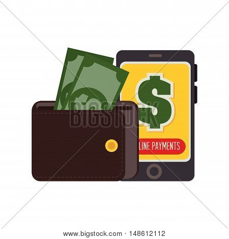 wallet money smartphone payment online design vector illustration eps 10