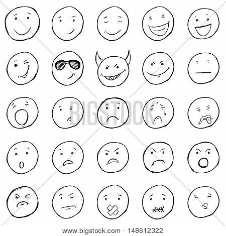 Vector Set Of Sketch Emoticons. Variations Of Smileys