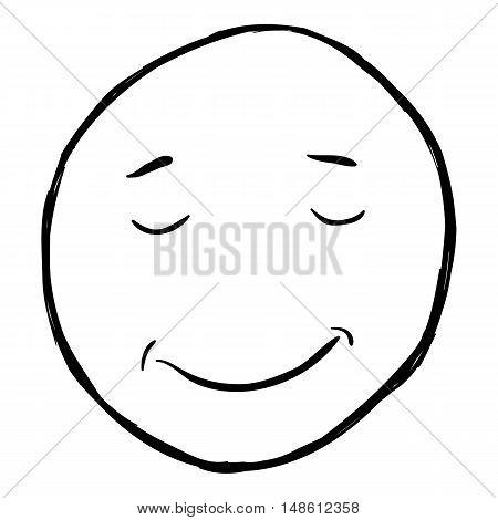 Vector Single Sketch Emoticon - Calm Happy Smiley