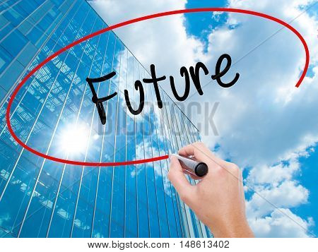 Man Hand Writing Future  With Black Marker On Visual Screen