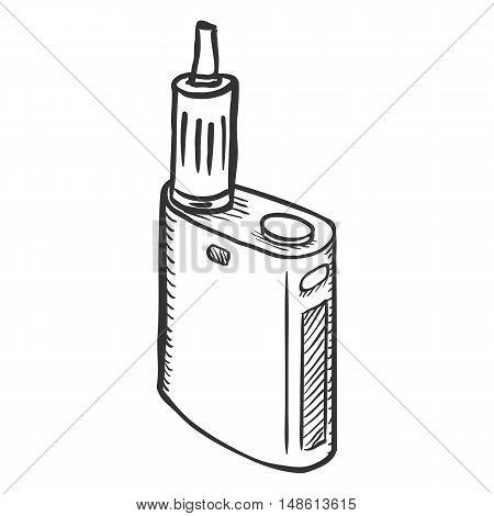 Vector Sketch Single Electronic Cigarettes. Vape Equipment.
