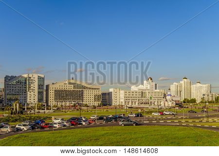 BELGOROD RUSSIA - SEPTEMBER 10 2016: General view of the buildings of Belgorod State University. International University. The campus (main building abservotory dormitories).