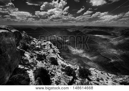 Muley Point Overlook Mexican Hat Ut Black And White