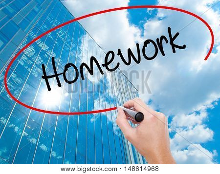 Man Hand Writing Homework With Black Marker On Visual Screen