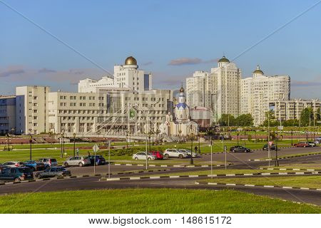 BELGOROD, RUSSIA - SEPTEMBER 10, 2016: General view of the residential complex, temple of Archangel Gabriel, promenade, main building and observatory of the International of the Belgorod State University. Campus.