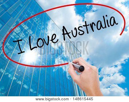 Man Hand Writing I Love Australia With Black Marker On Visual Screen
