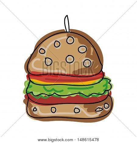 american burger fast food. drawn design. vector illustration