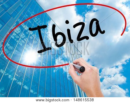 Man Hand Writing Ibiza With Black Marker On Visual Screen