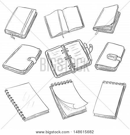 Vector Set Of Sketch Notebooks