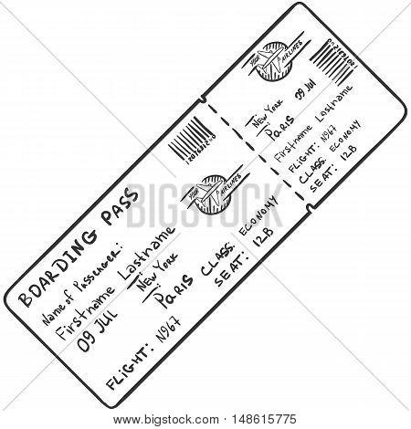 Vector Single Sketch Avia Ticket