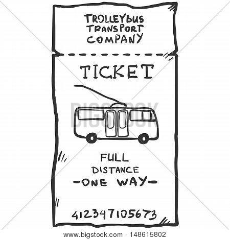 Vector Single Sketch Trolley Bus Ticket